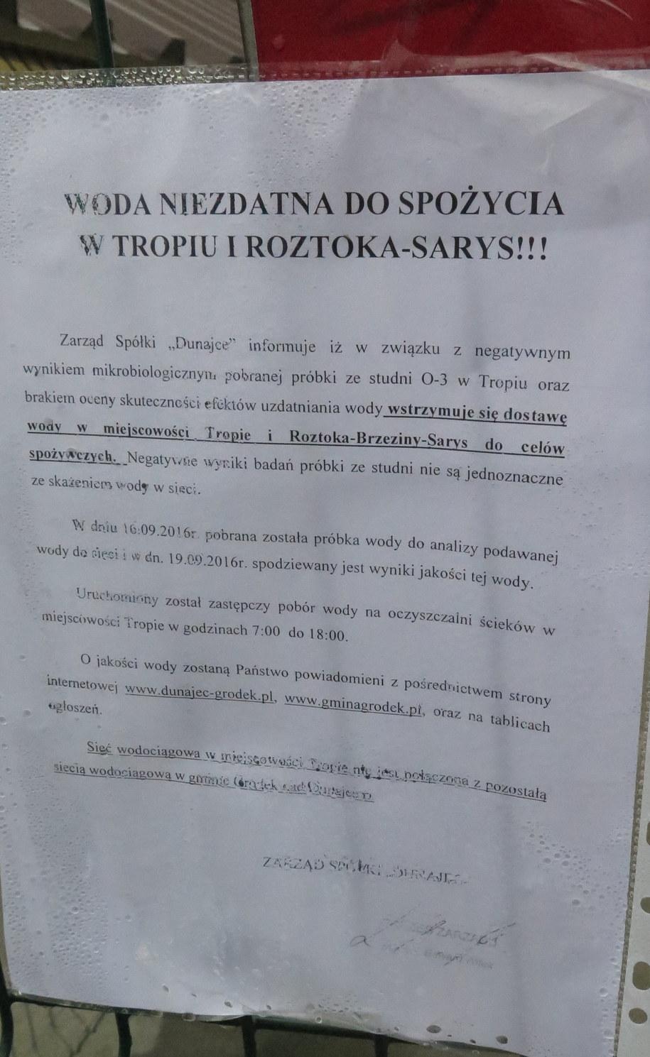 Informacja o skażonej wodzie /Paweł Pawłowski /RMF FM