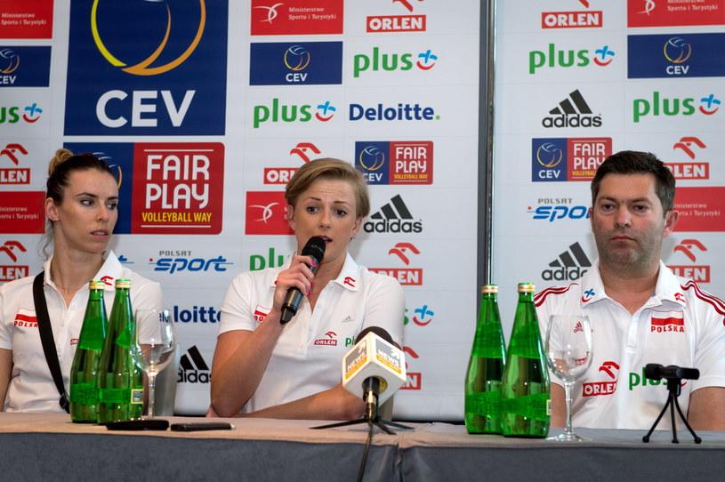 Izabela Bełcik, Joanna Wołosz i Piotr Makowski na konferencji prasowej przed turniejem w Bydgoszczy /Fot. Tytus Żmijewski /PAP