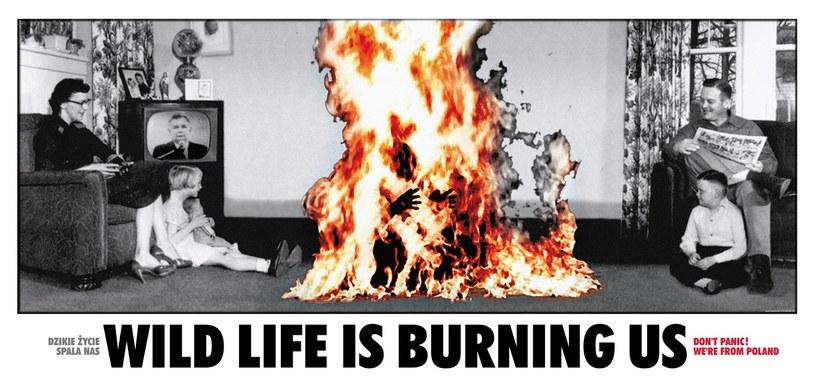 Jacek Staniszewski, Dzikie życie spala nas, 1998, fotocollage, billboard graficzny, banner, 200 x 400 cm, własność artysty /Jacek Staniszewski /