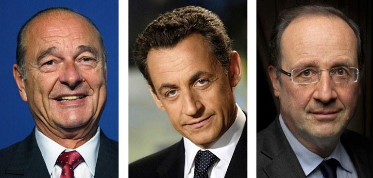 Jacques Chirac, Nicolas Sarkozy i Francois Hollande /DSK /AFP