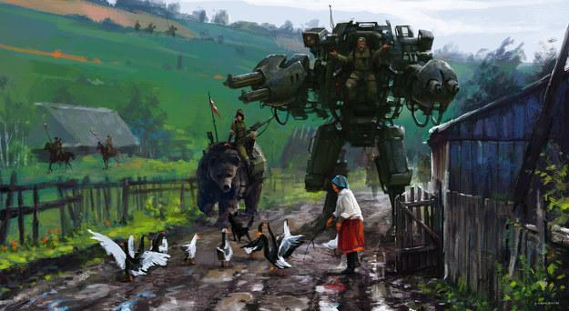 "Jakub Różalski, ""Road blockade"", źródło: www.artstation.com/artist/jakubrozalski /INTERIA.PL"