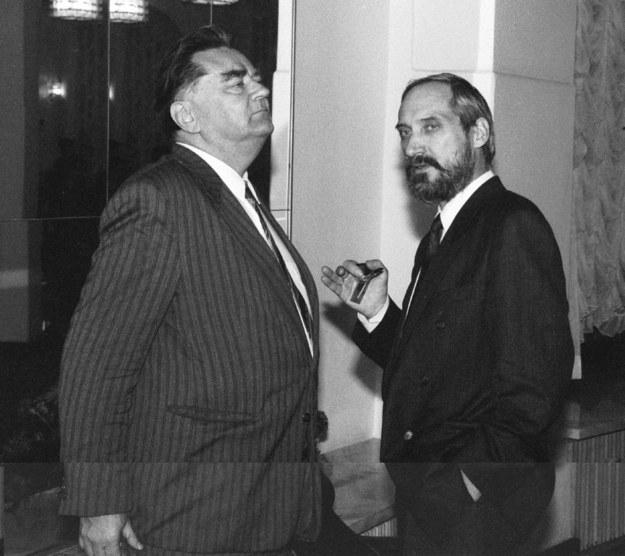 Jan Olszewski i Antoni Macierewicz. Zdjęcie z 1992 roku /Jacek Domiński /Reporter