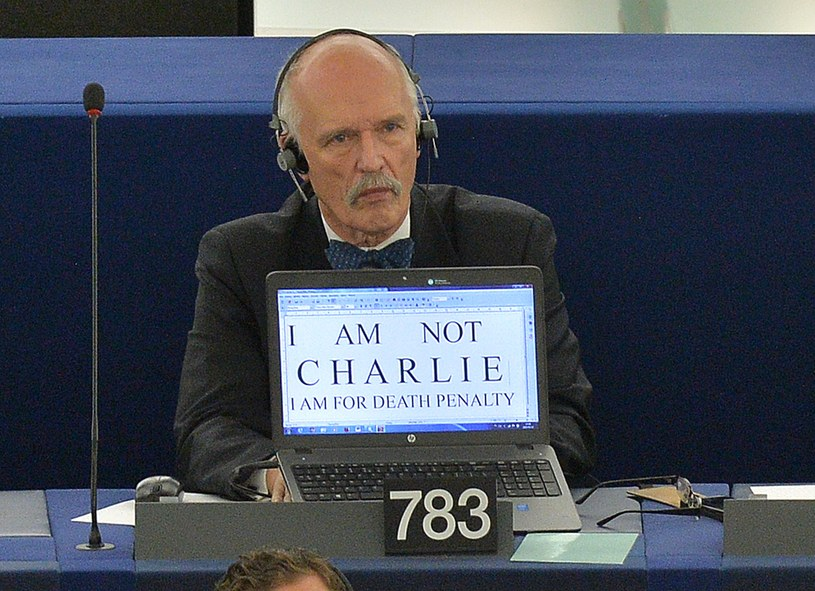 Janusz Korwin-Mikke w europarlamencie /AFP