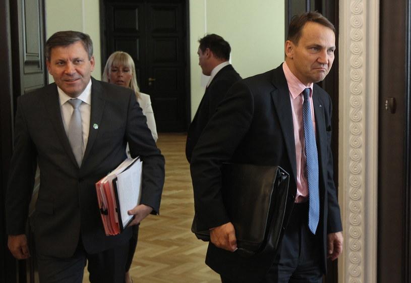 Janusz Piechociński i Radosław Sikorski /Radek Pietruszka /PAP