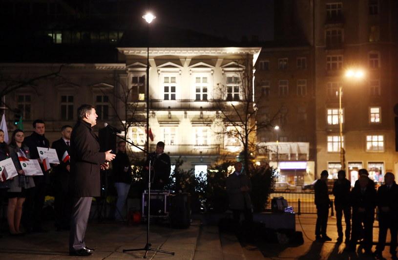 Janusz Piechociński przemawia, po tym jak złożył kwiaty pod pomnikiem Wincentego Witosa /Tomasz Gzell /PAP