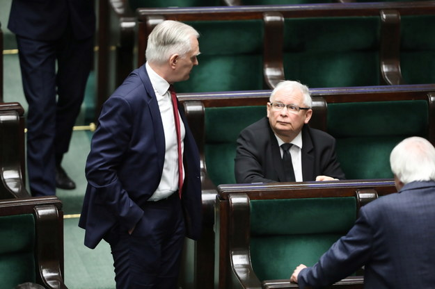 Jarosław Gowin i Jarosław Kaczyński /Wojciech Olkuśnik /PAP