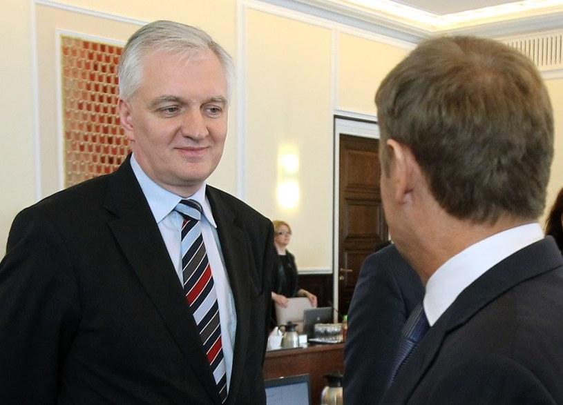 Jarosław Gwoin i Donald Tusk /Radek Pietruszka /PAP