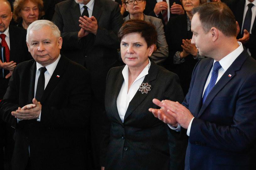Jarosław Kaczyński, Beata Szydło i Andrzej Duda /Simona Supino /FORUM