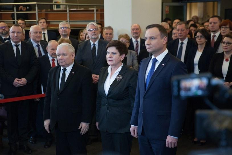 Jarosław Kaczyński, Beata Szydło i Andrzej Duda /Aleksandra Szmigiel-Wiśniewska /Reporter