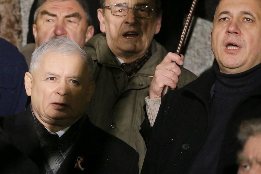 Jarosław Kaczyński i Joachim Brudziński podczas Marszu Wolności, Solidarności i Niepodległości /Paweł Supernak /PAP