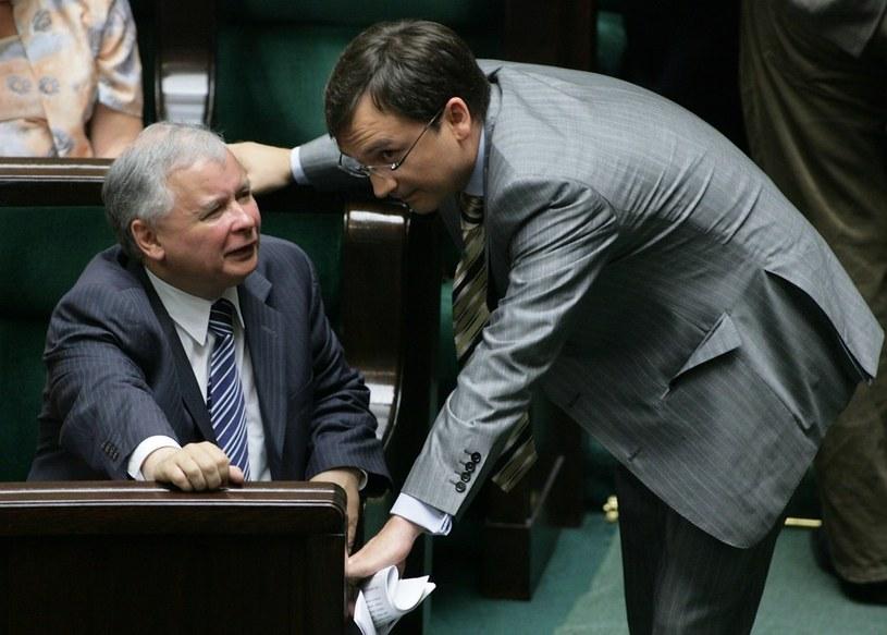 Jarosław Kaczyński i Zbigniew Ziobro, 2008 rok /Stefan Maszewski /Reporter