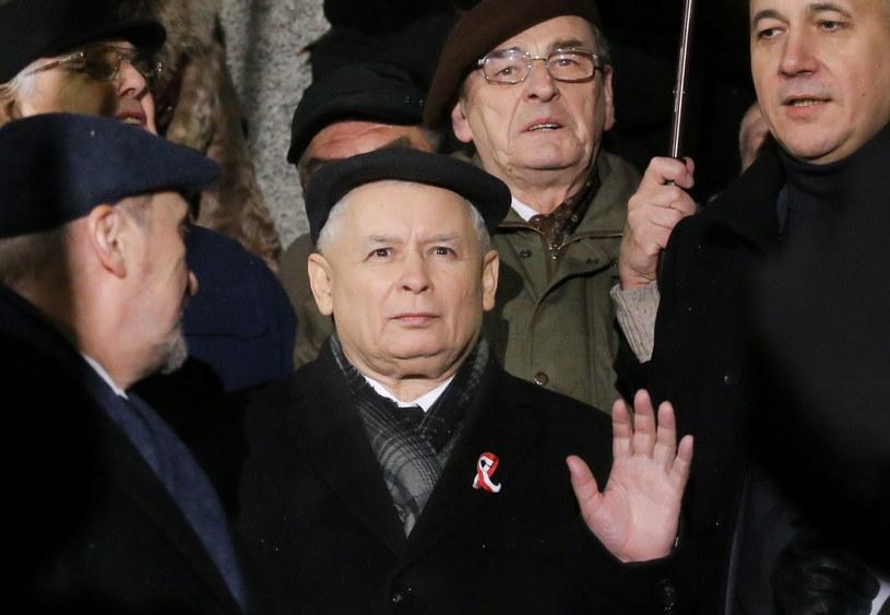 Jarosław Kaczyński podczas marszu w Warszawie /Paweł Supernak /PAP