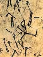 Jaskiniowe malarstwo, Grupa łowców, z wąwozu Valltorta, prowincja Castellón, Hiszpania, ok. 7500 /Encyklopedia Internautica