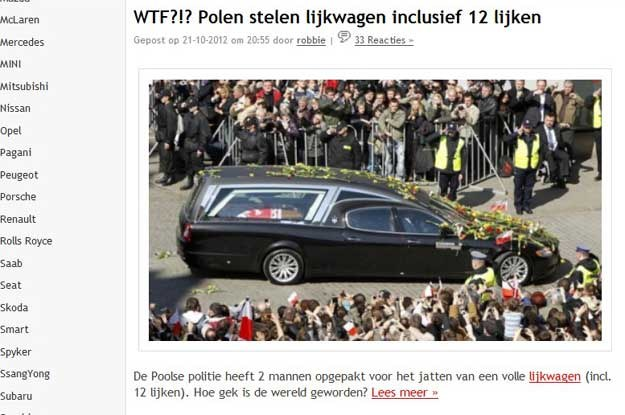 Jeden z holenderskich wortali informację o tym zilustrował zdjęciem... z pogrzebu Lecha Kaczyńskiego /