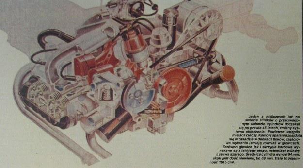 Jeden z nielicznych już na świecie silników o przeciwsobnym układzie cylindrów doczekał się po prawie 45 latach zmiany systemu chłodzenia. Powietrze ustąpiło miejsca cieczy. Komory spalania znajdują się w zasadzie w denkach tłoków, częściowe wybrania istnieją również w głowicach. Zarówno głowice, jak i skrzynia korbowa wykonane są z lekkiego stopu, natomiast cylindry z żeliwa szarego. Średnica cylindra wynosi 94 mm, skok jest dość niewielki, bo 69 mm. Daje to pojemność 1915 cm3. /Volkswagen