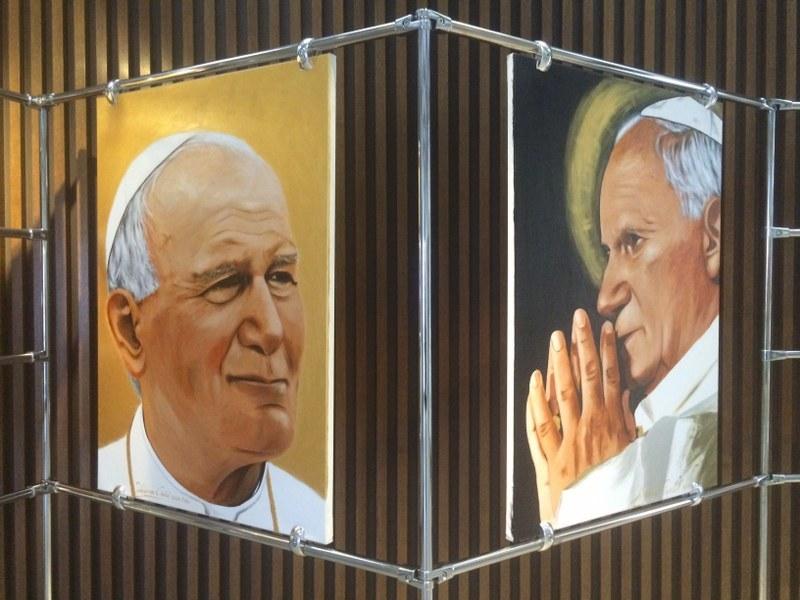 Jeden z portretów Jana Pawła II autorstwa Waldemara Cieślaka /Kuba Kaługa /RMF FM