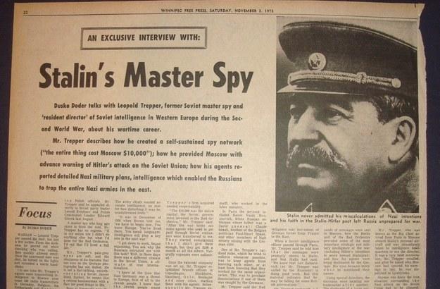 Jeden z wielu wywiadów jakie L. Trepper udzielił po wyjeździe z Polski. Oczywiście w Polsce fakt ten nie został odnotowany. /Odkrywca /INTERIA.PL