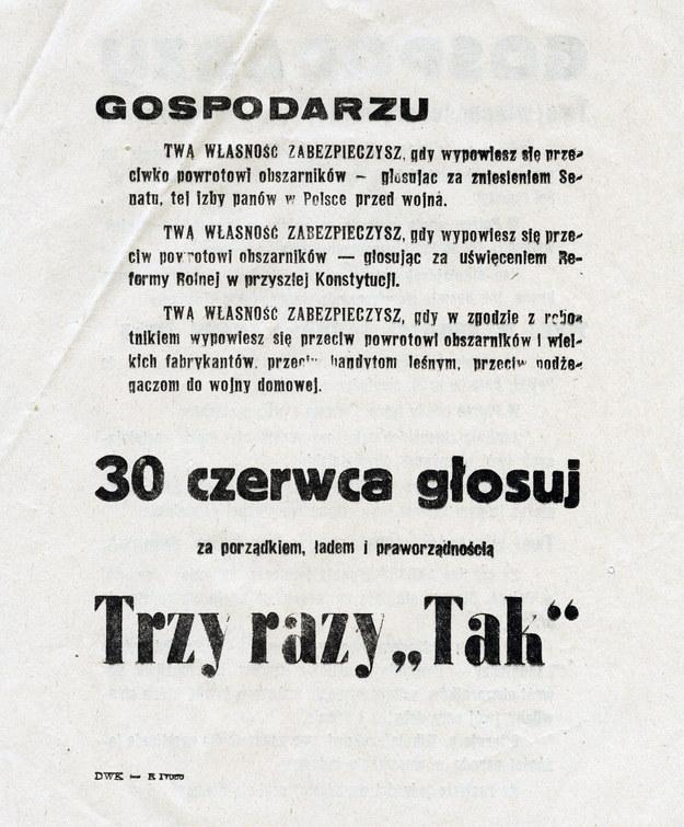 Jedna z ulotek propagandowych komunistów skierowana do rolników /reprodukcja FoKa /Agencja FORUM
