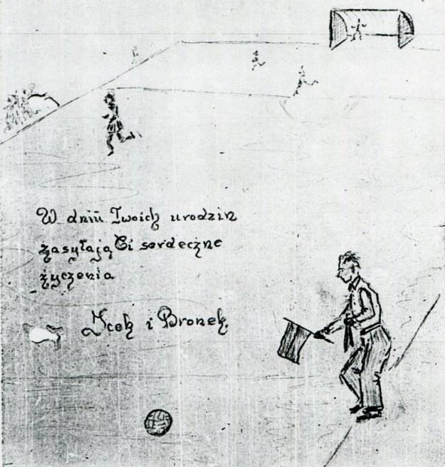 Jedna ze stron notatnika więźnia Gross-Rosen z wizerunkiem boiska do gry /Odkrywca