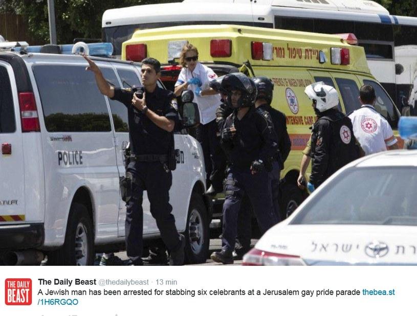Jerozolima: Atak nożownika na uczestników Gay Pride /Twitter