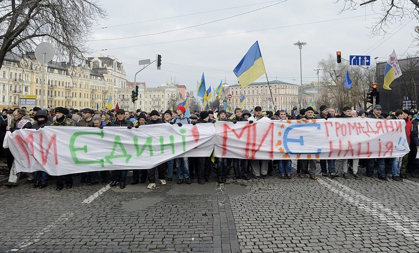 """""""Jesteśmy obywatelami UE"""" - niedzielna manifestacja w Kijowie /PAP/EPA"""