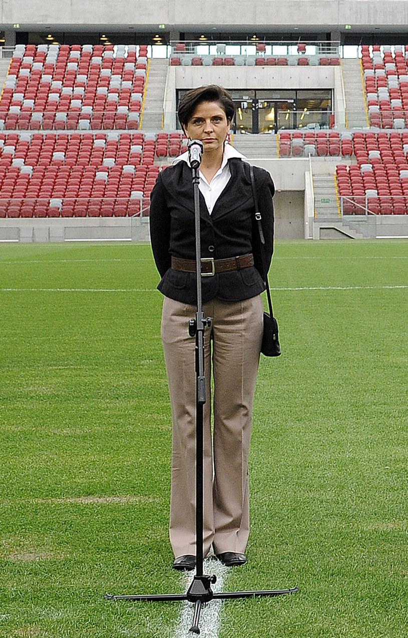 Joanna Mucha na Stadionie Narodowym. /AFP