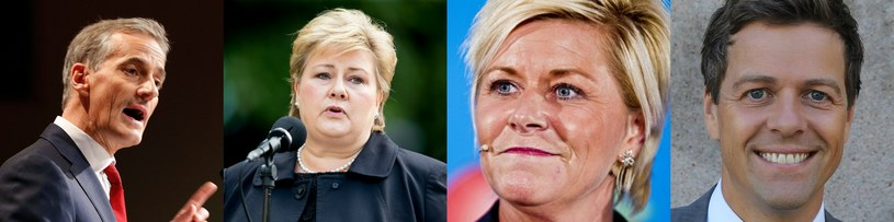 Jonas Gahr Støre, Erna Solberg, Siv Jensen i Knut Arild Hareide /AFP