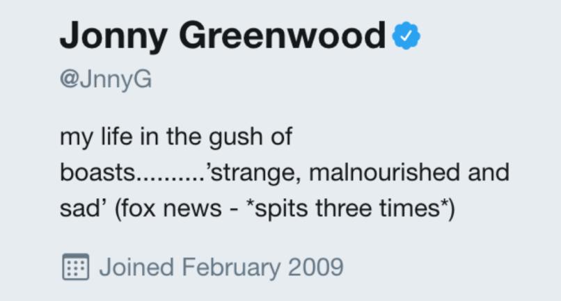 Jonny Greenwood na Twitterze /
