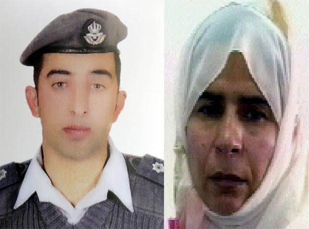 Jordański pilot Muath al-Kasaesbeh i iracka terrorystka Sadżida al-Riszawi /AFP