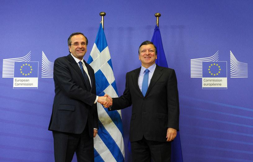 Jose Manuel Barroso i premier Grecji Antonis Samaras /AFP