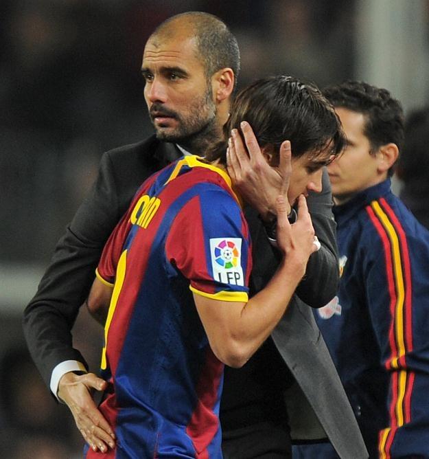Josep Guardiola i Bojan Krkic. /AFP