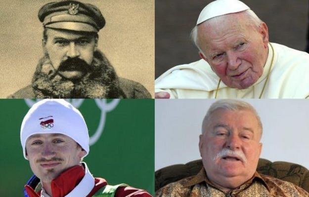 Józef Piłsudski, Jan Paweł II, Adam Małysz, Lech Wałęsa /AFP/Agencja FORUM