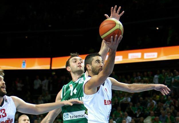 Juan Carlos Navarro (w białej koszulce) zdobył w meczu ze Słowenią 26 punktów. /AFP