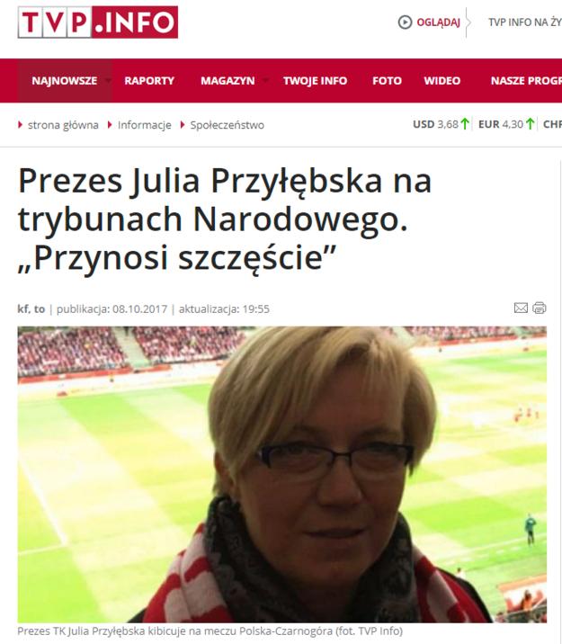 Julia Przyłębska przynosi szczęście /tvp.info /