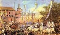 Juliusz Kossak, Wjazd cesarza Franciszka Józefa do Krakowa i powitanie pod Barbakanem /Encyklopedia Internautica