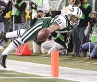 Justin McCareins zdobywa przyłożenie dla Jets /AFP