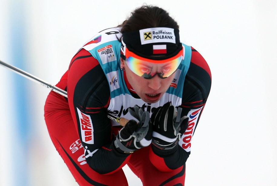 Justyna Kowalczyk na trasie biegu na 10 km techniką klasyczną w fińskim Kuusamo /Grzegorz Momot /PAP