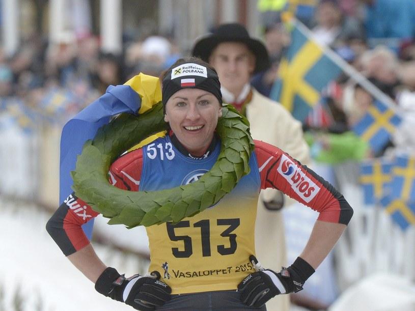 Justyna Kowalczyk po wygraniu Biegu Wazów /AFP