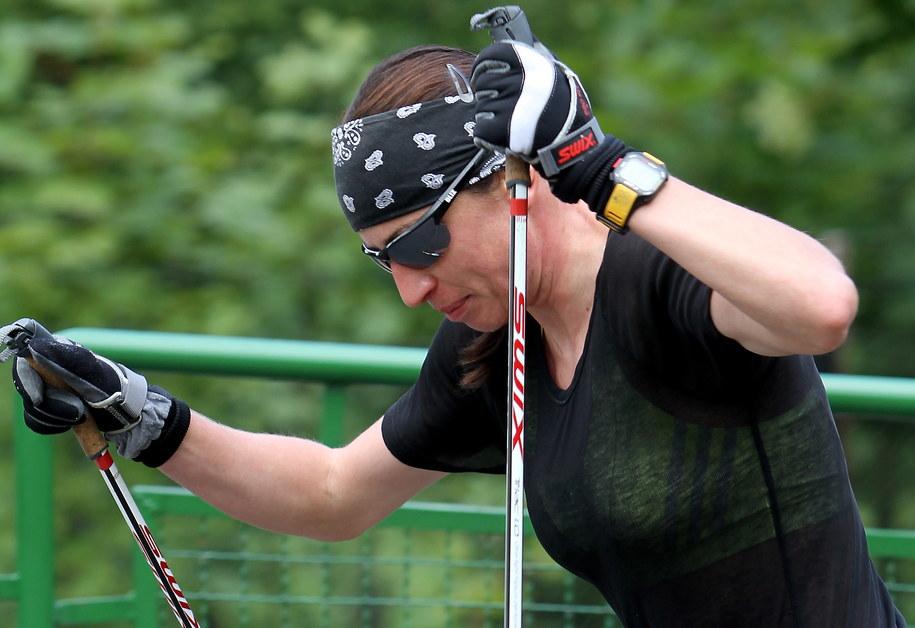 Justyna Kowalczyk podczas swojego treningu /Grzegorz Momot /PAP