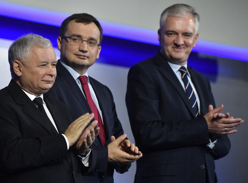 Kaczyński, Ziobro i Gowin - liderzy Zjednoczonej Prawicy /Adam Chelstowski /FORUM