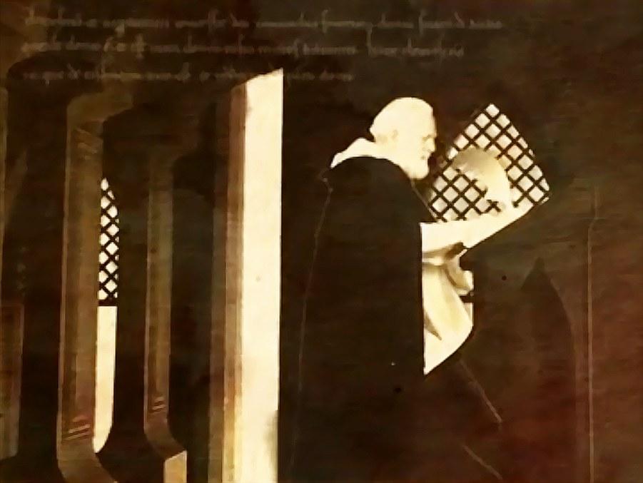 Kadr z filmu zachęcającego wiernych do wirtualnych medytacji w Klasztorze Dominikanów w Lille