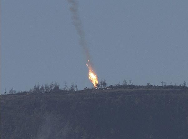Kadry z nagrania zestrzelenia samolotu /Getty Images