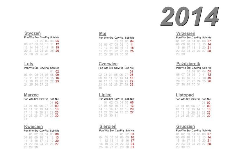 Kalendarz na 2014 rok. /123RF/PICSEL