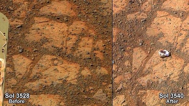 Kamień, który pojawił się przy łaziku Opportunity /NASA