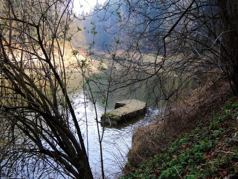 Kamienno-ceglane elementy wyłaniające się z rzeki /Odkrywca