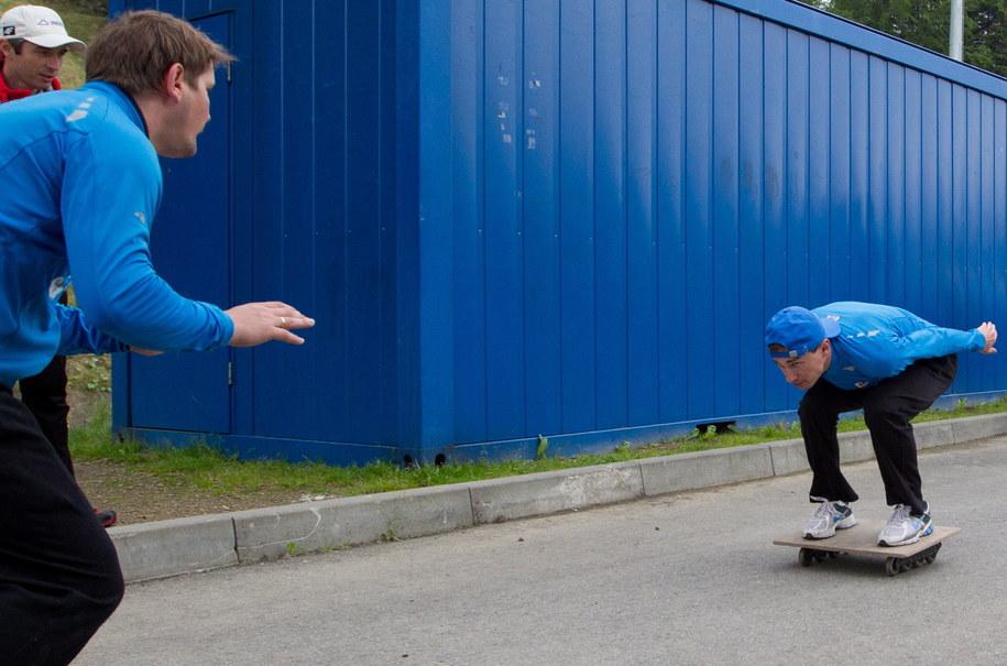 Kamil Stoch na treningu /Andrzej Grygiel /PAP