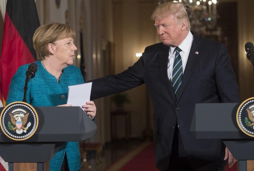Kanclerz Angela Merkel i prezydent Donald Trump /SAUL LOEB /AFP