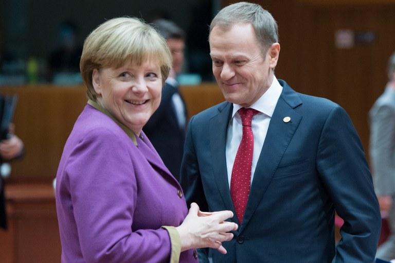 Kanclerz Niemiec Angela Merkel i polski premier Donald Tusk /AFP