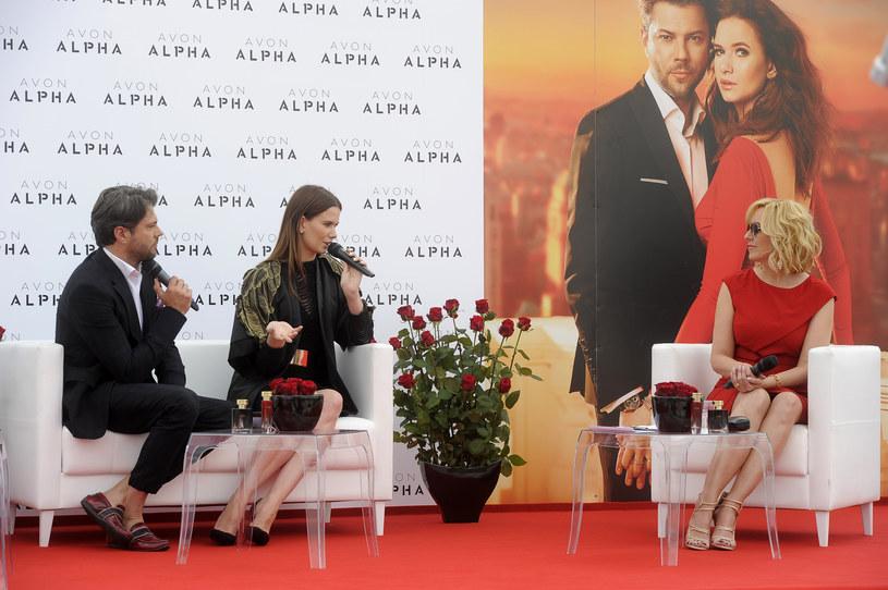 Karolina Malinowska, Olivier Janiak i Agata Młynarska na premierze kosmetyków Avon /AKPA
