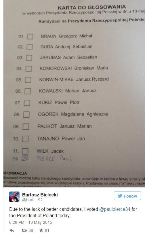 Karta do głosowania Bartosza Bieleckiego. /INTERIA.PL